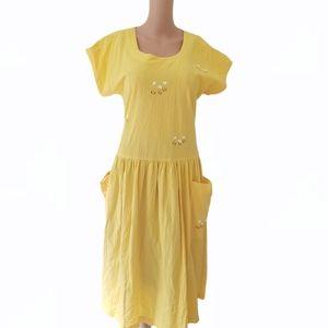 Vintage Barbara Vandenberg yellow DressSz 12